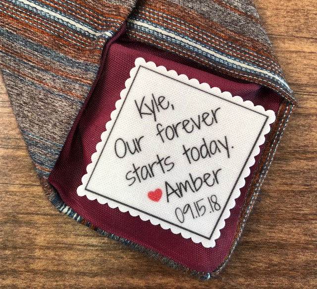 """Personalized Wedding Tie Patch - Groom Tie Patch, Sew Or Iron On, 2.5"""" 2"""" Wide, Our Forever Starts Today, Gifts For Him, Groom"""