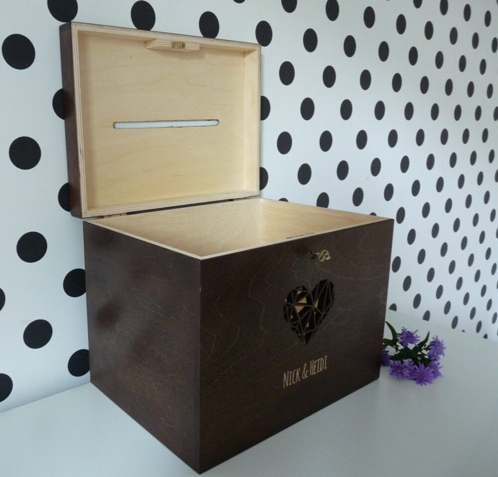 Personalized Dark Brown Rustic Wedding Wooden Card Box With Slot, Engraved Greeting Cards Collection Box, Money Key Lock