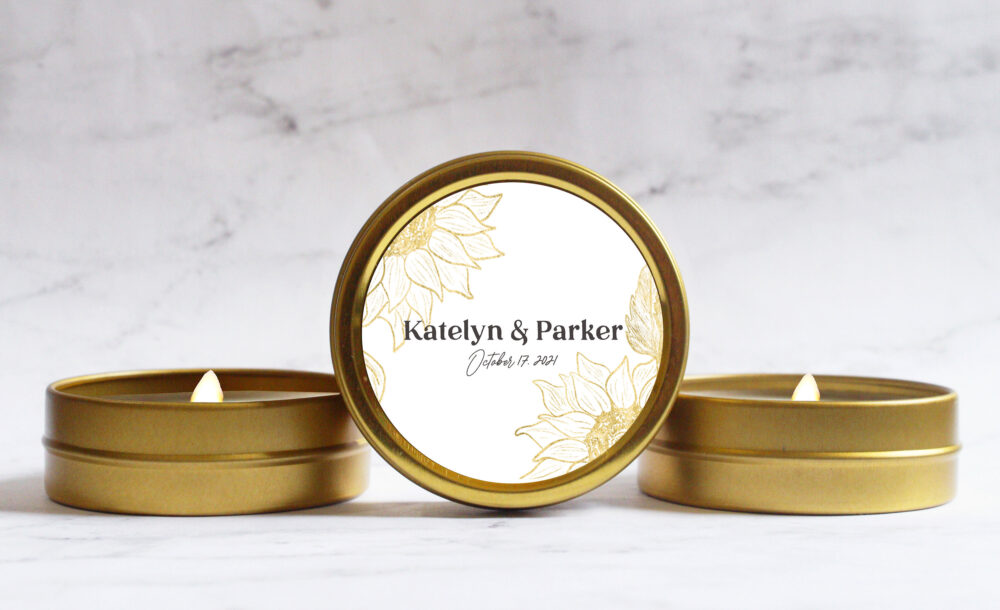 Sunflower Wedding Favor Candles - Rustic Favors For Guests Custom Fall