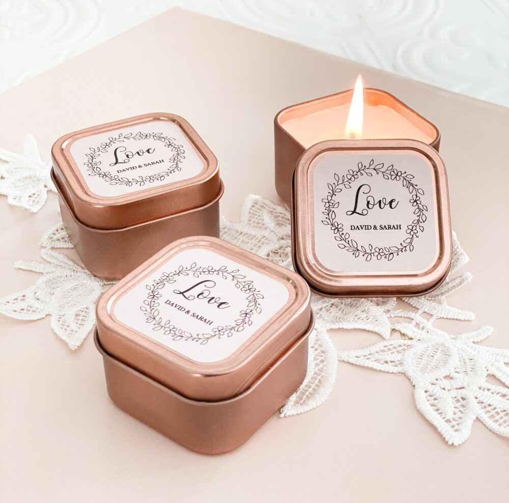 Rose Gold Wedding Favors Candle Bridal Shower Personalized For Guests   Eb3400Gdn 12  Pcs