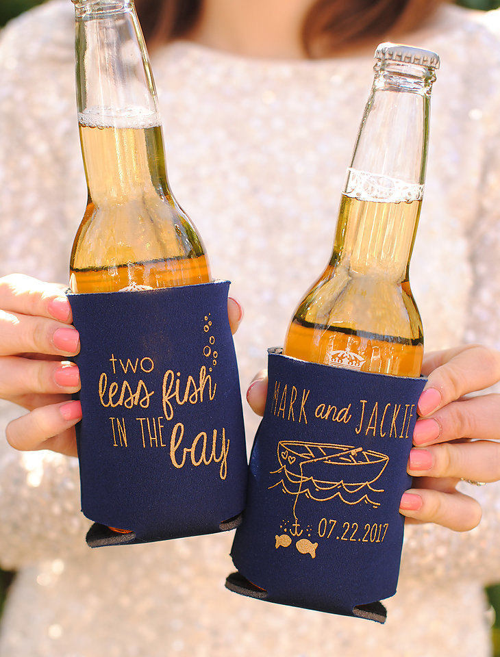 Beach Wedding Favors - Personalized 2 Two Less Fish in The Bay Can Coolers, Spring Wedding, Summer Beer Insulators