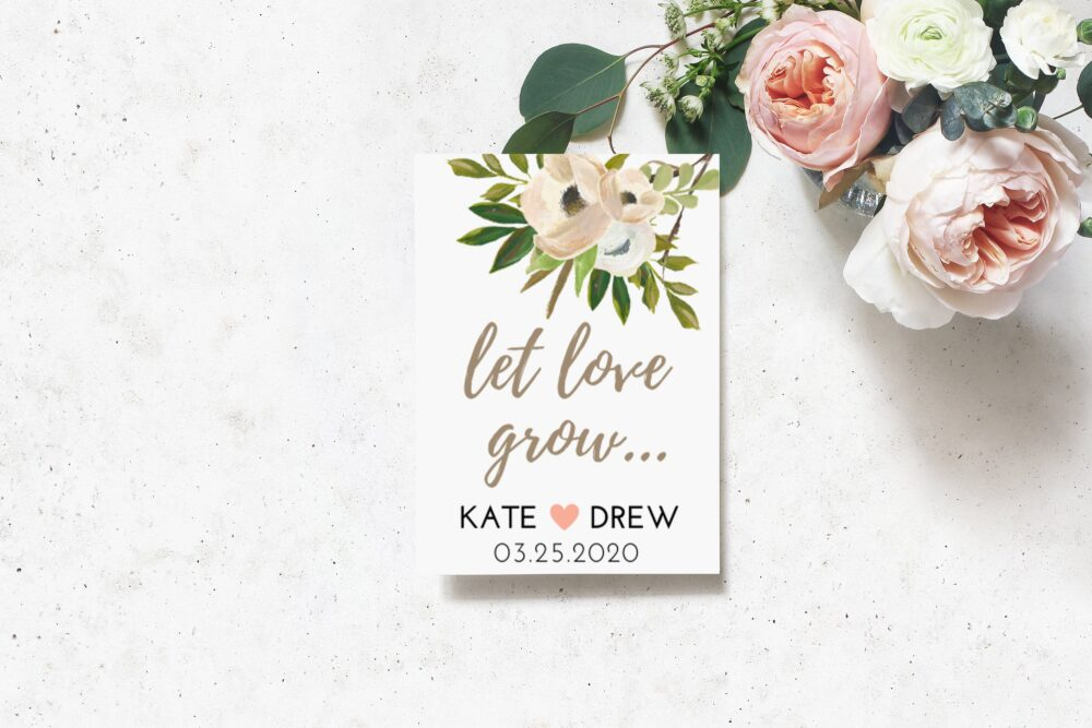 Wedding Favors, Custom Seed Favors With Seeds, Ivory Florals, Spring Packet Personalized Favors