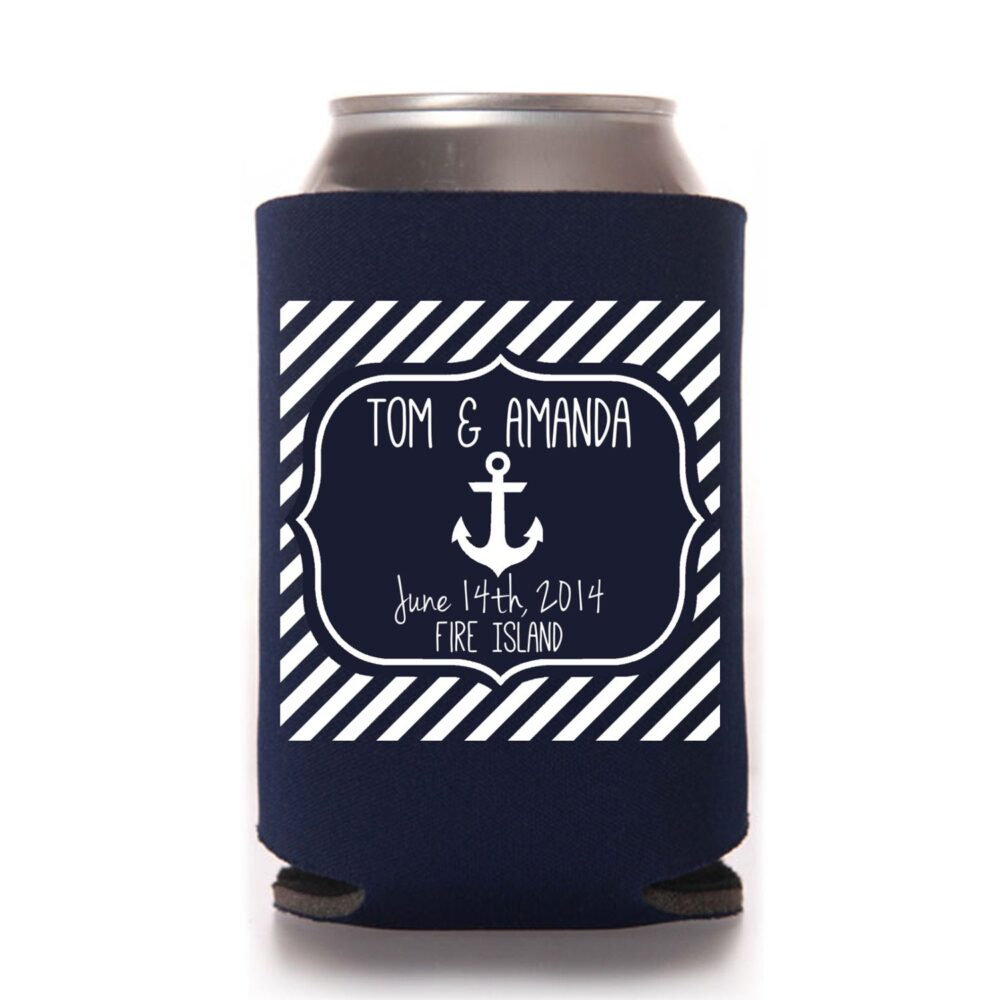 Beach Wedding Favors - Nautical Personalized Anchor Can Coolers, Reception For Guests, Summer Wedding, Beer Insulators, Spring