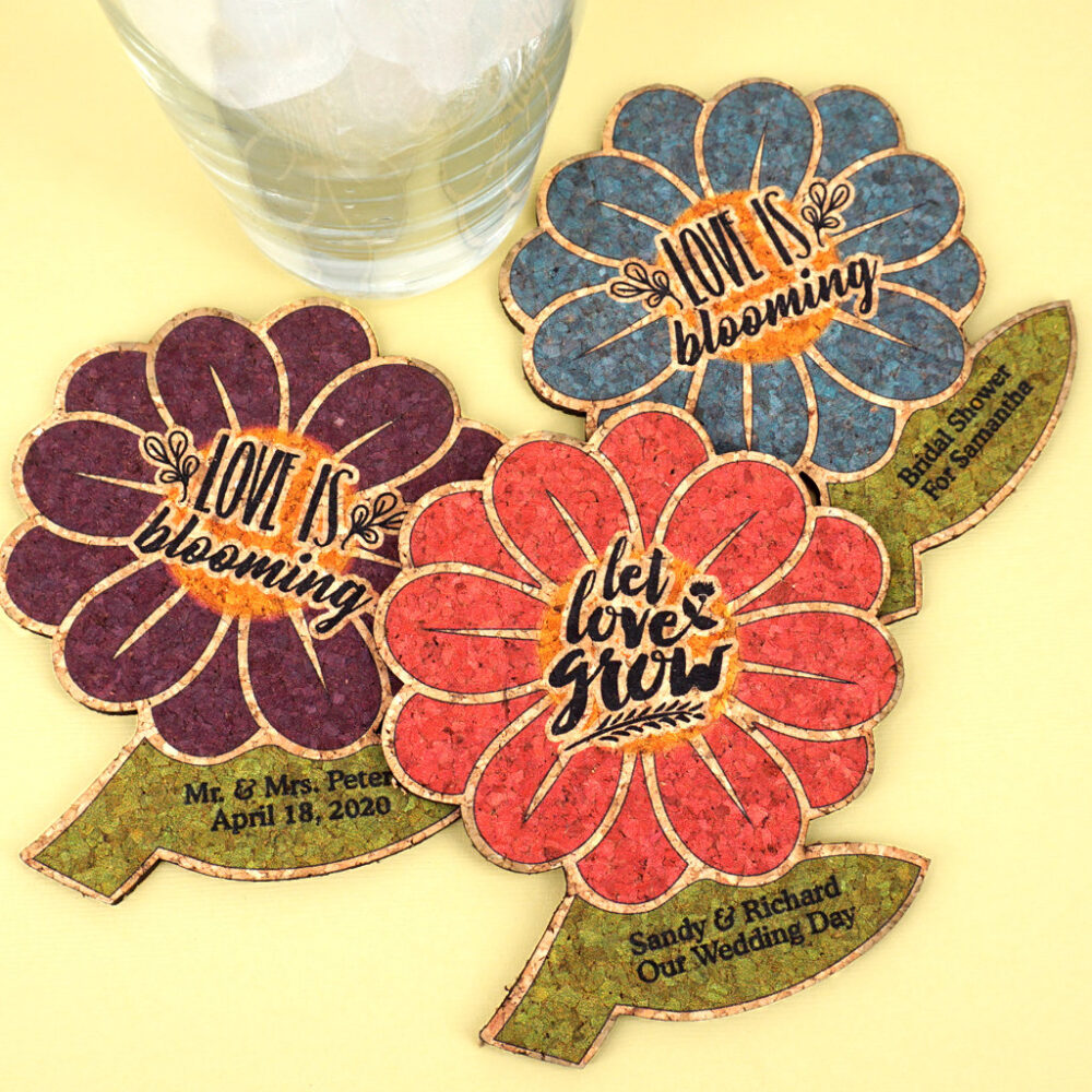 Personalized Wedding Favors, Let Love Grow Daisy Shaped Cork Coaster, Garden Wedding, Spring Shaped Cork Coasters - Set Of 12