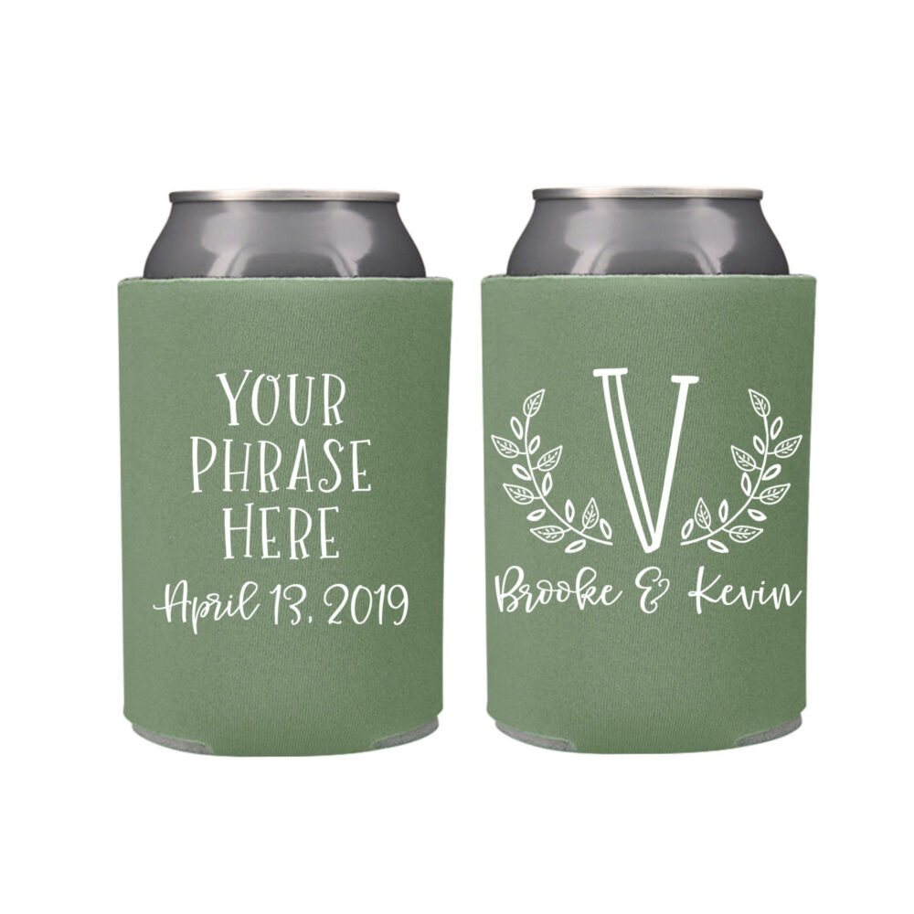 Summer Wedding Favors - Custom Monogram Personalized Can Coolers, Reception For Guests, Stubby Holders, Spring Wedding Favors