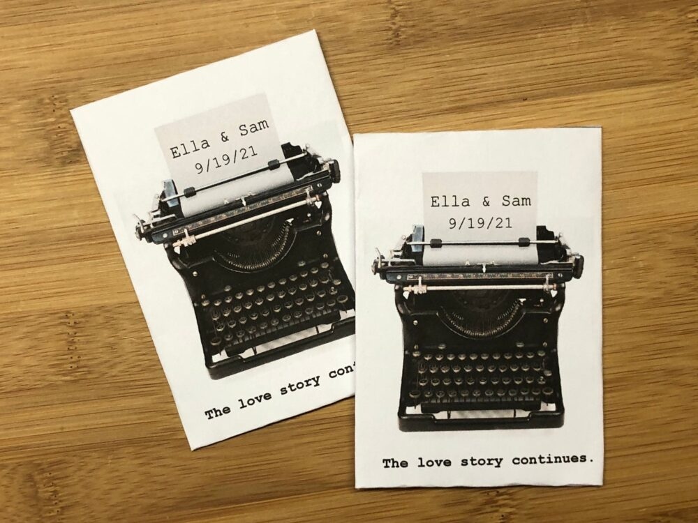 50 Typewriter Wedding Favors, Writer Favors, Party Wedding Seed Packets Favors