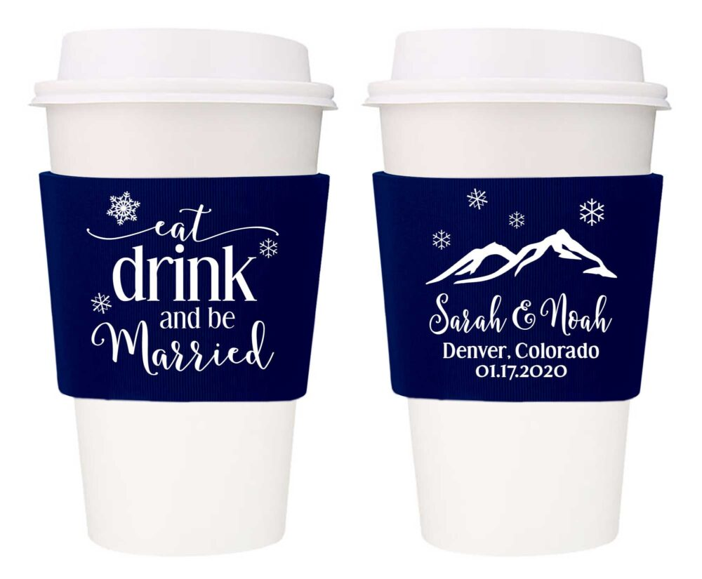 Coffee Cup Holders Wedding Favors With Snowflakes Sleeve White Decor Winter Ideas Eat Drink & Be Married 3B