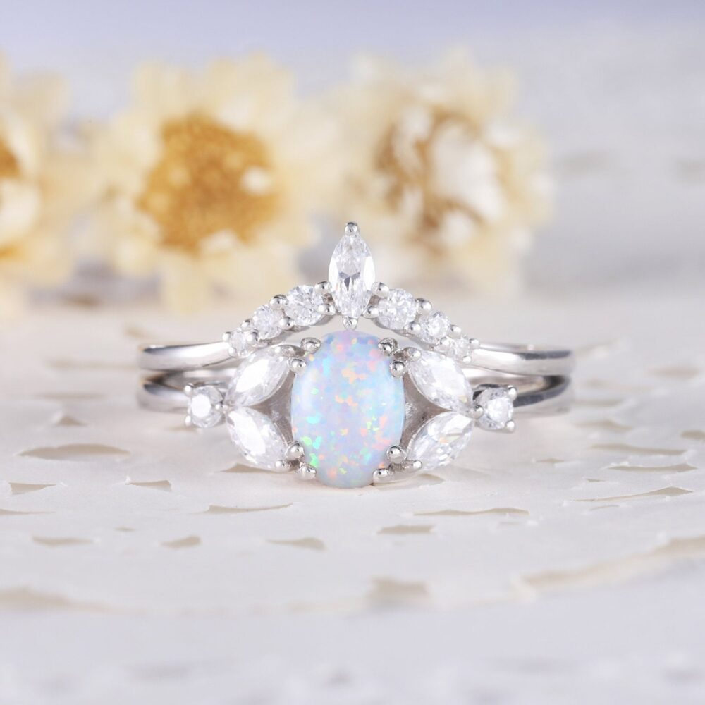 White Opal Wedding Ring Set 14K Sterling Silver Gold Marquise Cz Diamond Curved Matching Band Women Anniversary Gift 2Pcs