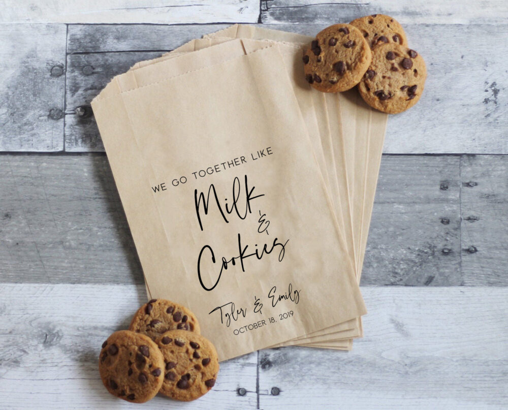 Wedding Cookie Bags, We Go Together Like Milk & Cookies, Favors, Treat Table, Favor Bags
