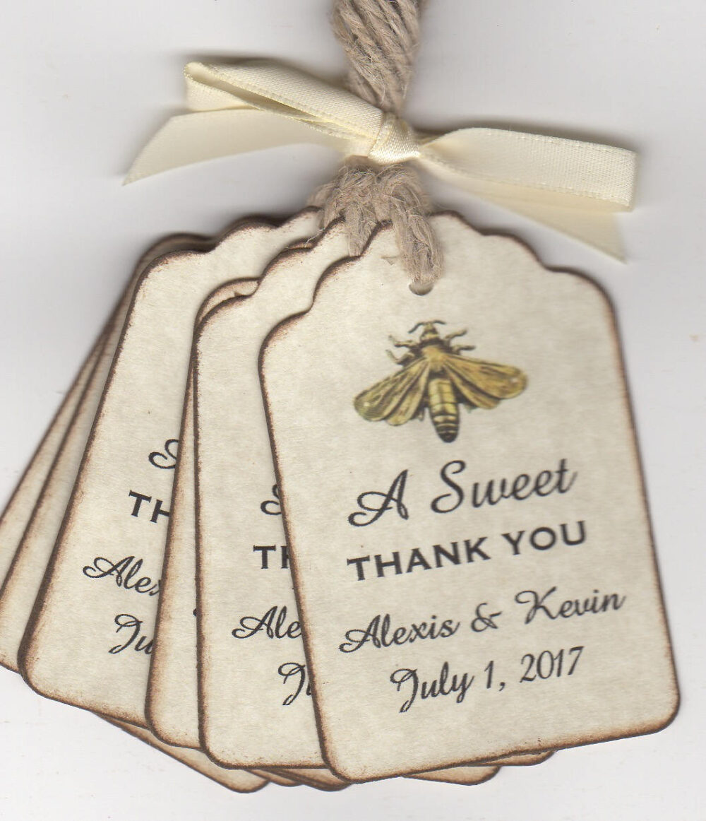 A Sweet Thank You Wedding Favor Thank You Gift Tags Honey Jar Pot Shower Label - Vintage Style Set Of 50