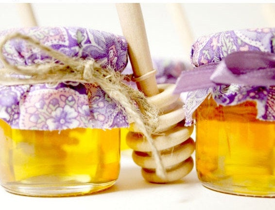 70 Mini Mason Jar Honey Wedding Favor With Wooden Dipper, Meant To Bee Theme Or Mommy To Theme