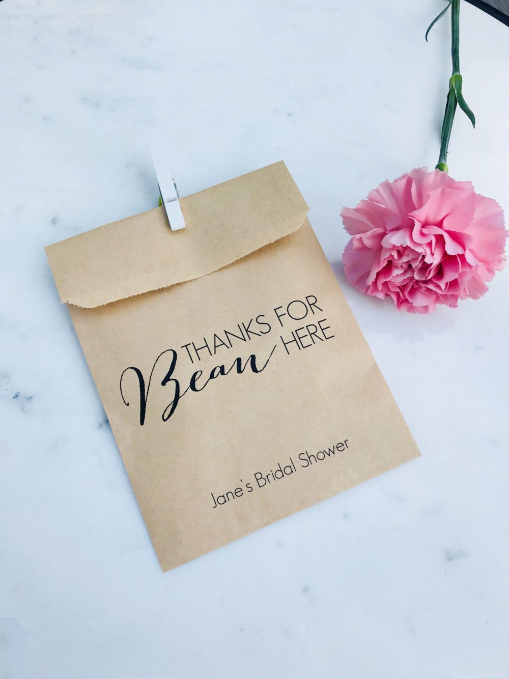 Wedding Favor Bags - Thanks For Bean Here Coffee Or Jelly Bean Bags Custom Printed On Kraft Brown Paper
