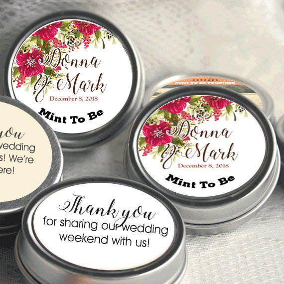 Mint To Be Wedding Favors - Edible Favor Breath Mints Personalized Fall Poinsettia
