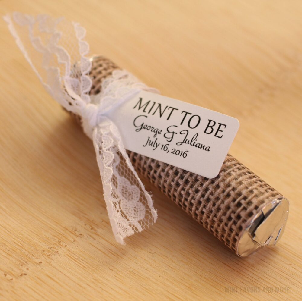 """Mint Wedding Favors - Set Of 50 Mint Rolls """"Mint To Be"""" Favors With Personalized Tag Burlap & Lace Theme, Rustic"""