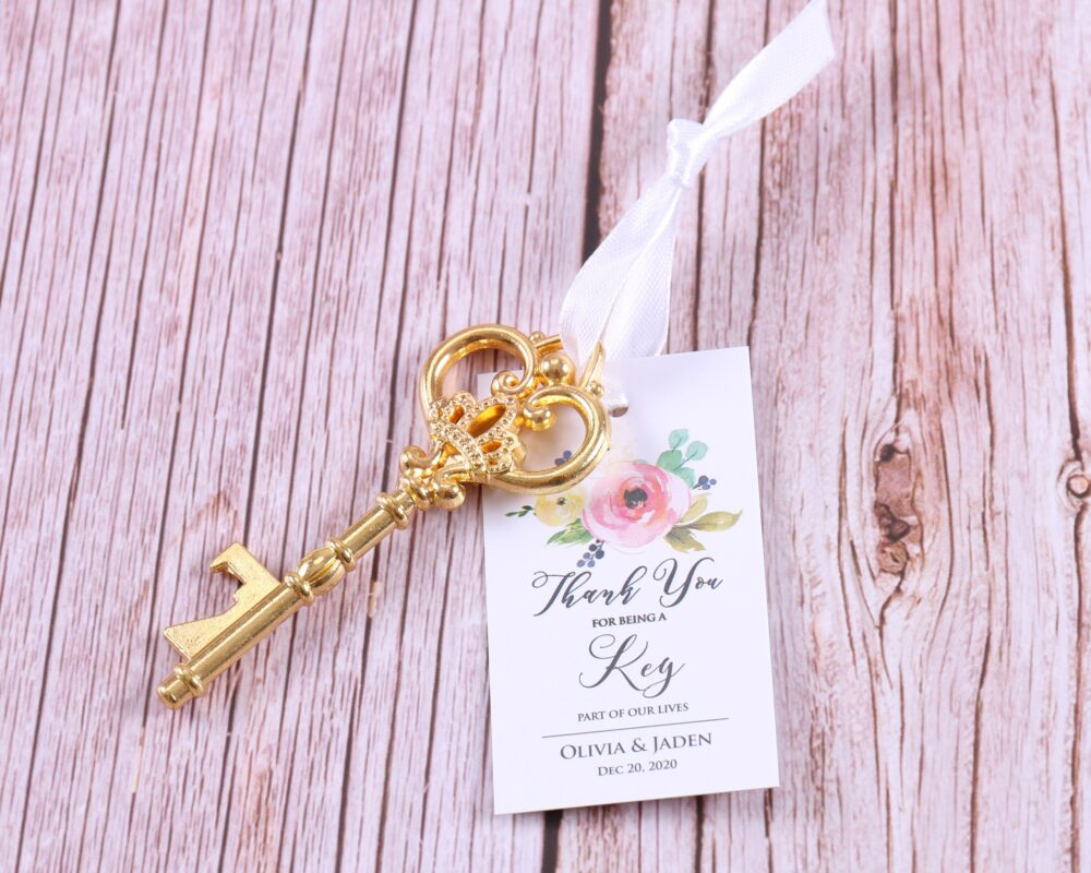 50x Wedding Favors For Guests - Skeleton Key Bottle Openers & Personalized Floral Gift Tags Thank You Custom Name Baby Shower Party
