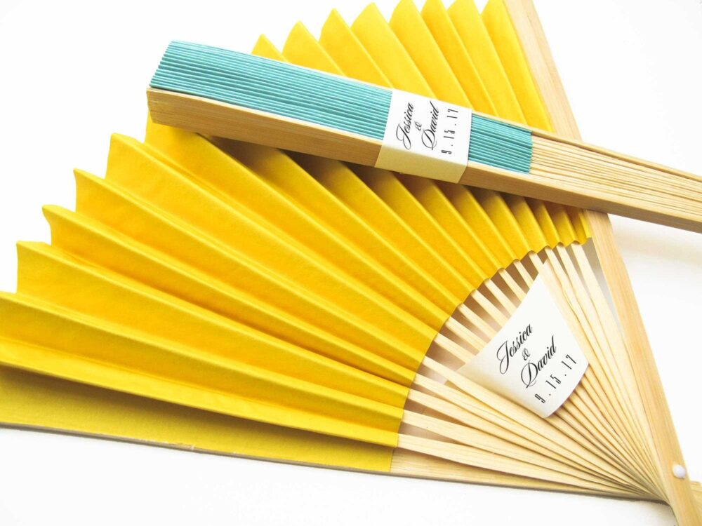 Personalized Fans 150 Set - Paper Fan Wedding Favors Party Hand Bridal Shower Gifts More Colors
