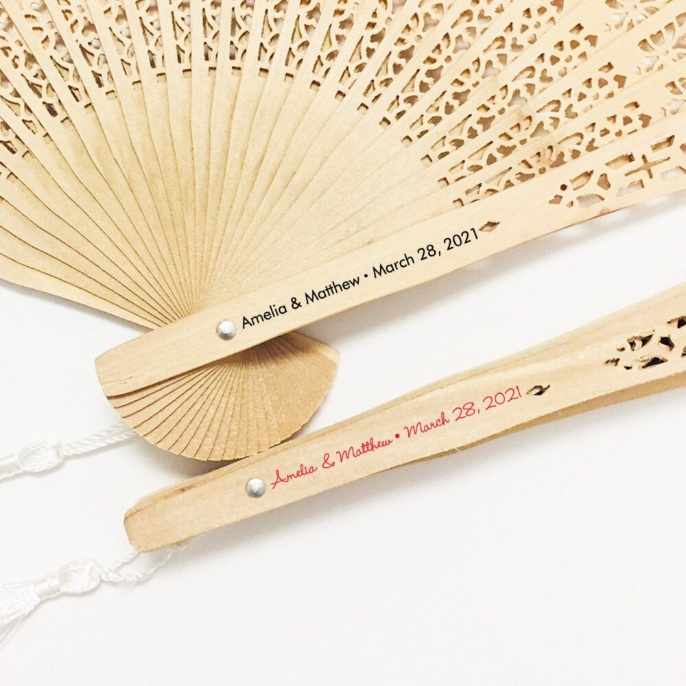 Set Of 12 Custom Sandalwood Fans With Personalized Stickers & White Tassels ++ Minimum Order Qty Is 2 Sets