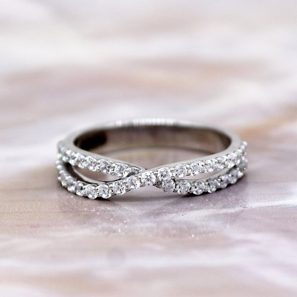 Half Eternity Wedding Band, Infinity Band Ring, Natural Diamond Certified 14Kt White Gold I1/G-H Color