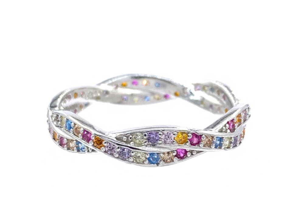 Silver Infinity Band Ring, Multicolor Eternity Full Cz Multi Color Stackable Band, Woven Ring