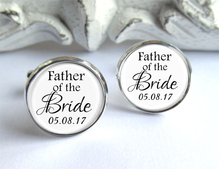 Father Of The Bride Cufflinks, Wedding Personalized With Date