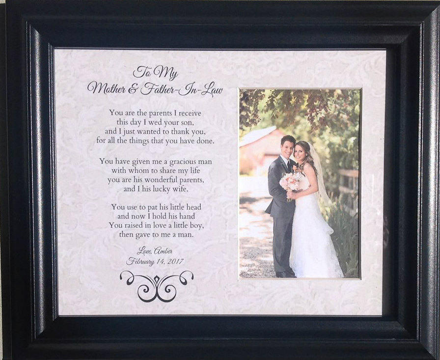 Mother & Father in Law Wedding Parents Bride Groom Personalized Custom Gift