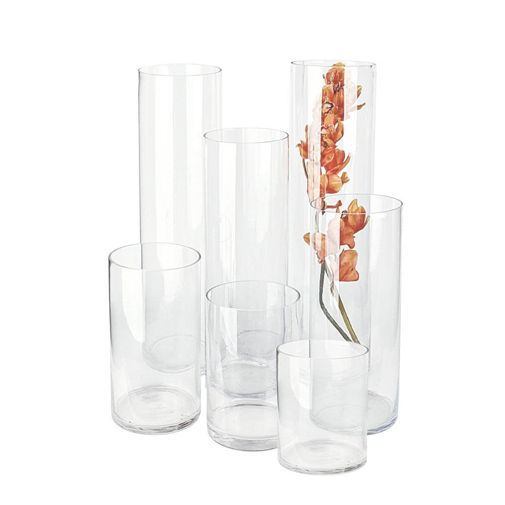 """Glass Cylinder Vase 8"""" Diameter Hand Blown Wedding Centerpieces, Various Heights For Selection"""