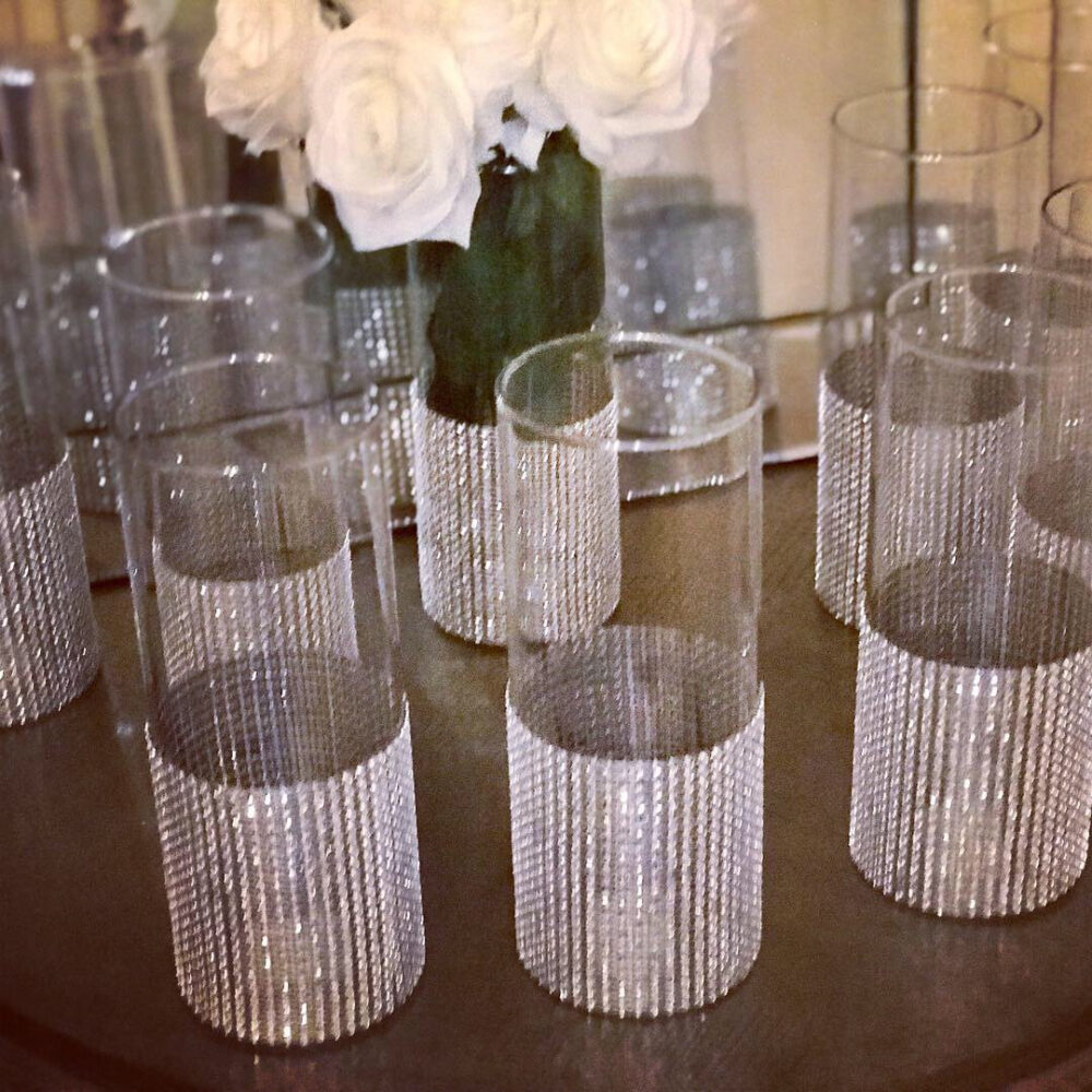 12 Tall Wedding Centerpieces, Cylinder Shaped Vases With A Wide Rhinestone Look Mesh Ribbon Vase. Wedding Decor, Shower Event Decor