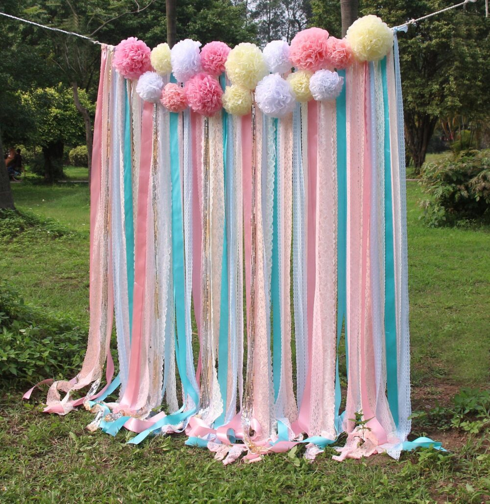 Pink White Lace Mint Ribbon Pom Poms Flowers Sparkle Fabric Backdrop Wedding Ceremony Stage, Birthday, Baby Shower Party Garland
