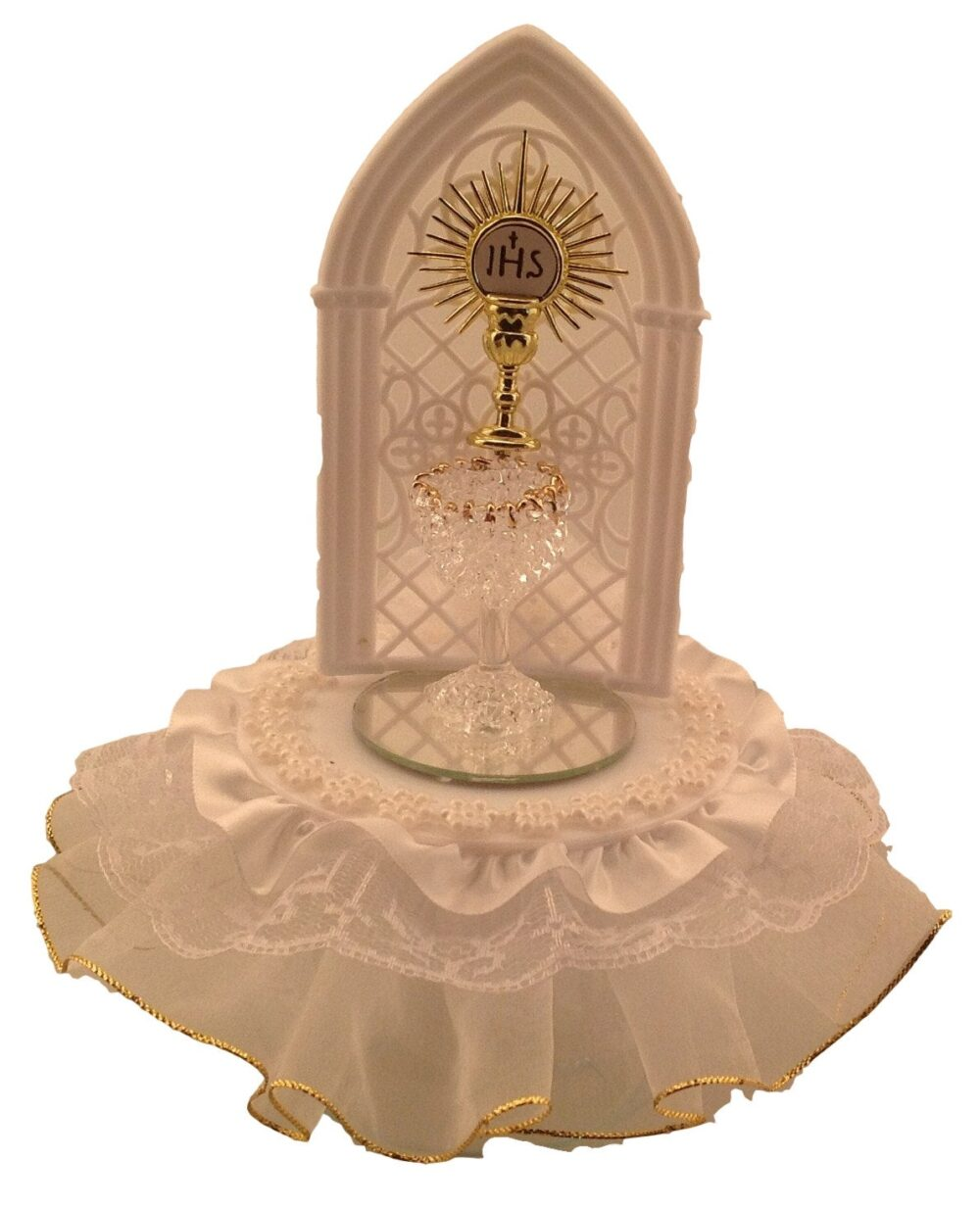 Communion Spun Glass Challis Cake Top With Lace Trim & Silk Flowers All in White