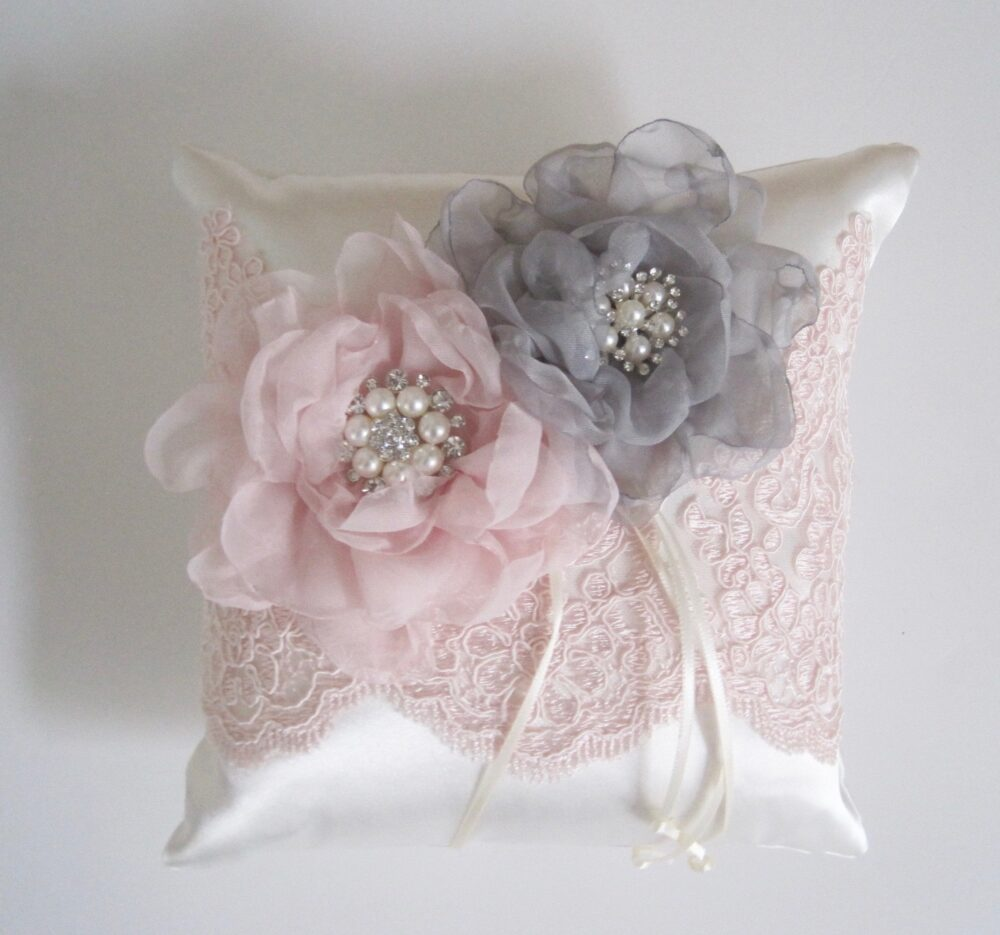 Ring Bearer Pillow Light Ivory Satin With Blush Pink Lace Trim & Grey Flowers Pearl Rhinestone Accents Ready To Ship