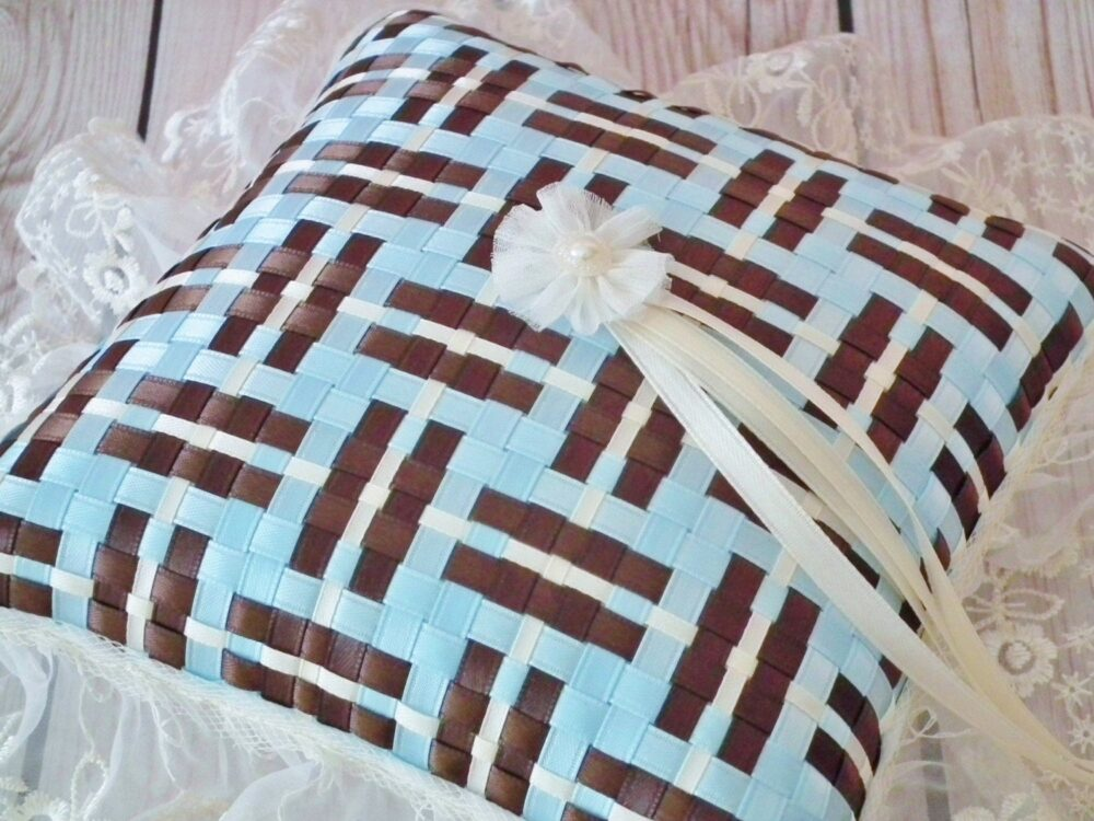 Light Blue & Brown Satin Ribbon Ring Pillow With Ivory Lace Trim
