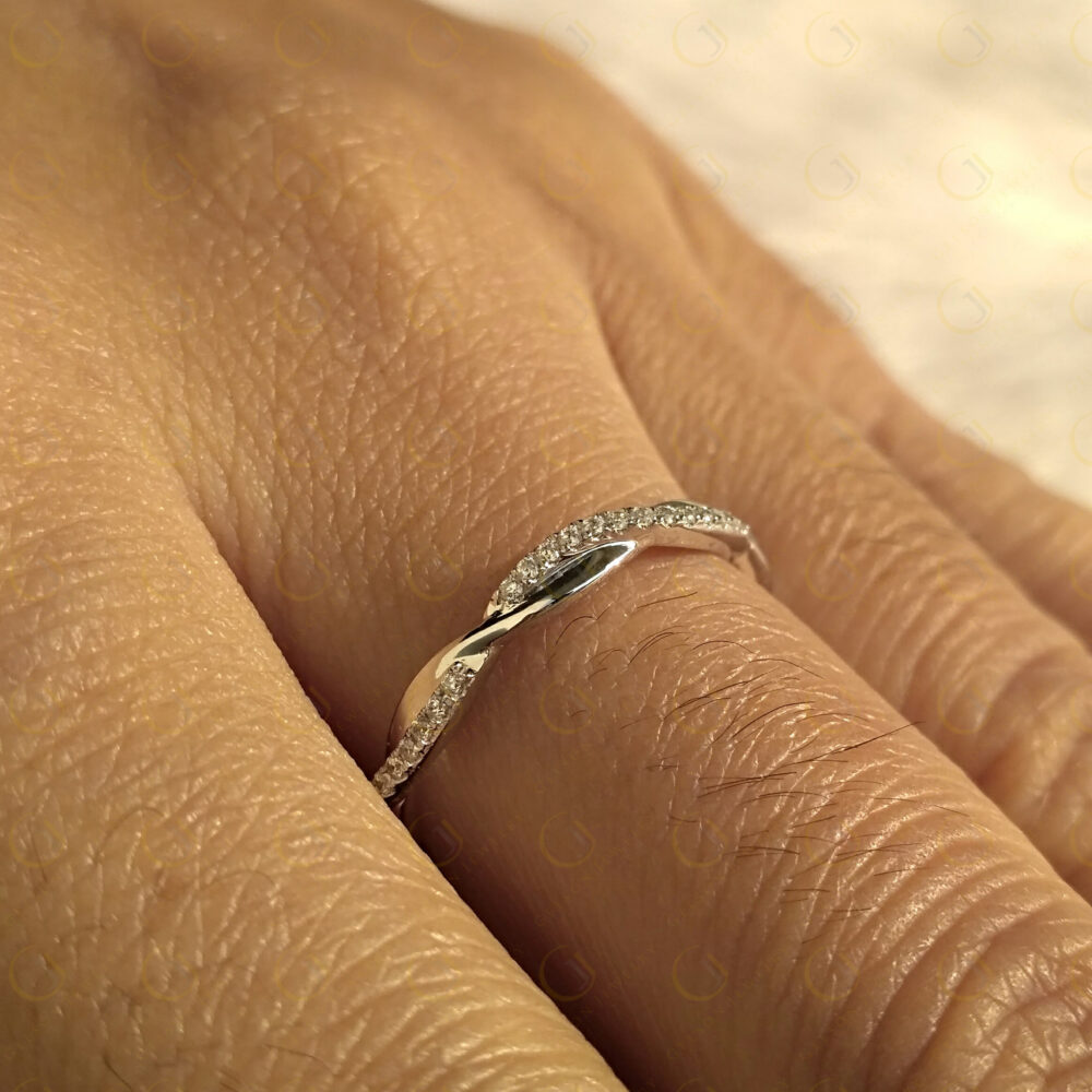 2.80 Mm Lab Diamond Wedding Band, 14K Yellow Rose & White Gold Plated, Criss Cross Nature Inspired Eternity Ring, Minimal Stackable