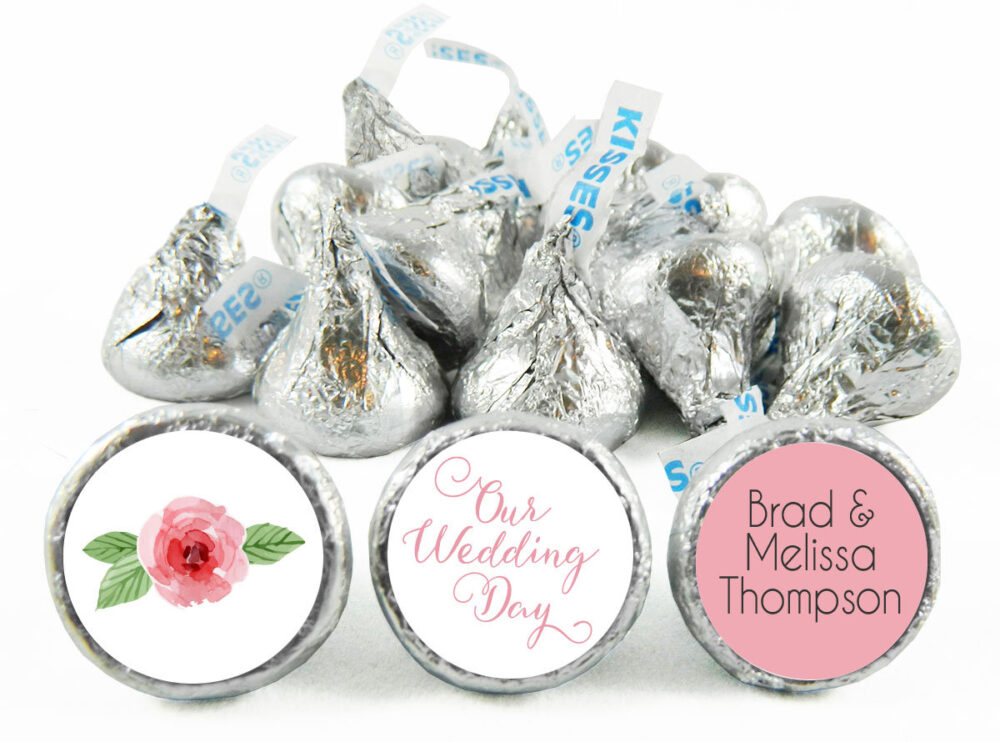 Set Of 108 - Our Wedding Day Kiss Stickers For Hershey's Kisses. Labels Party Favors #idwed703
