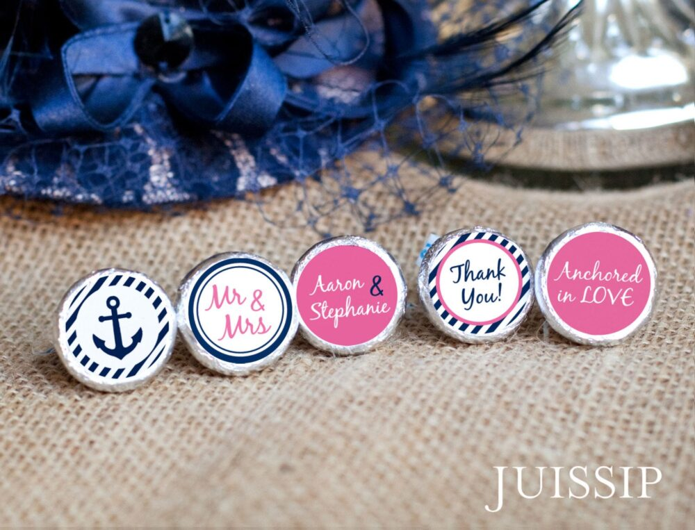 120 Nautical Wedding Hershey Kiss Stickers - Printed Personalized Labels Anchor Party Favors & Ready To Use Customized Decor