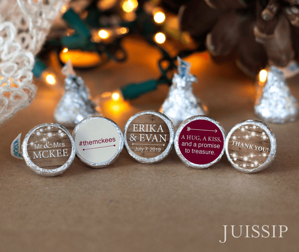 120 Rustic Country Wedding Hershey Kiss Labels - Printed Personalized Stickers String Twinkle Lights Customized Favors -Wood Background