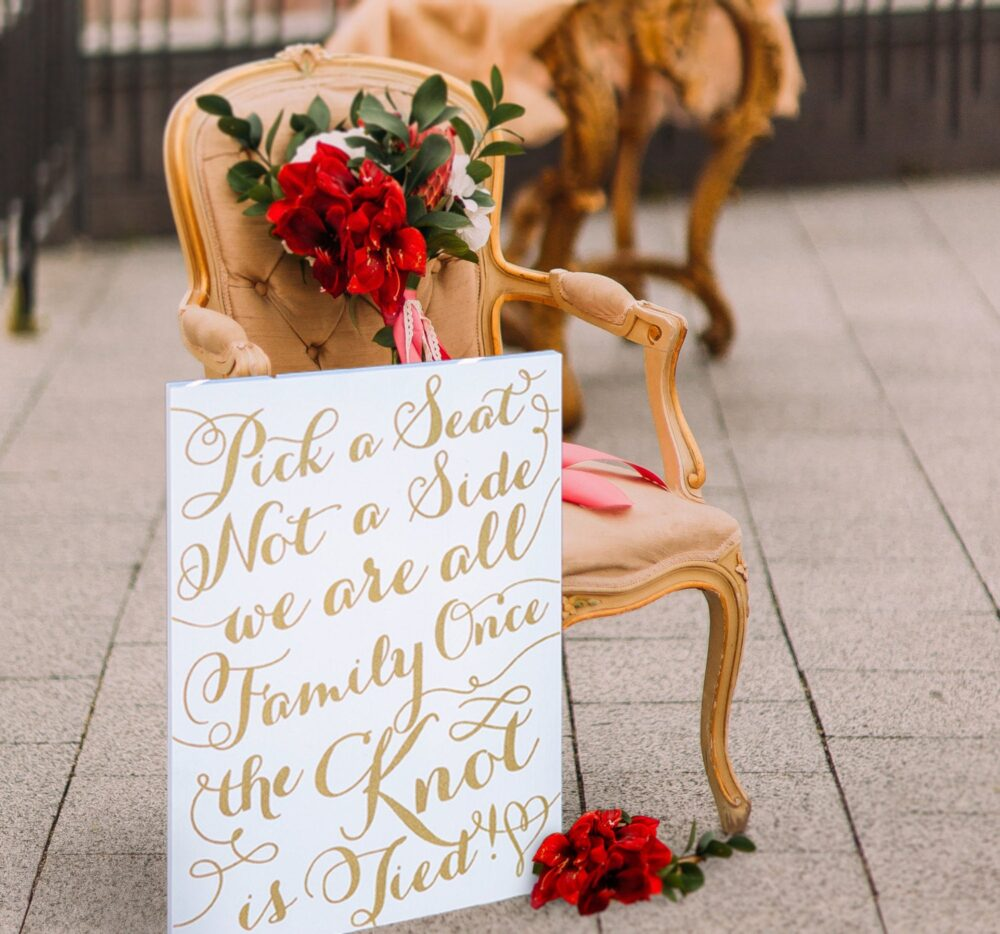 """Wedding Sign """"Pick A Seat, Not Side"""" Aisle For Ceremony Painted Decorations, Gold & More Colors 