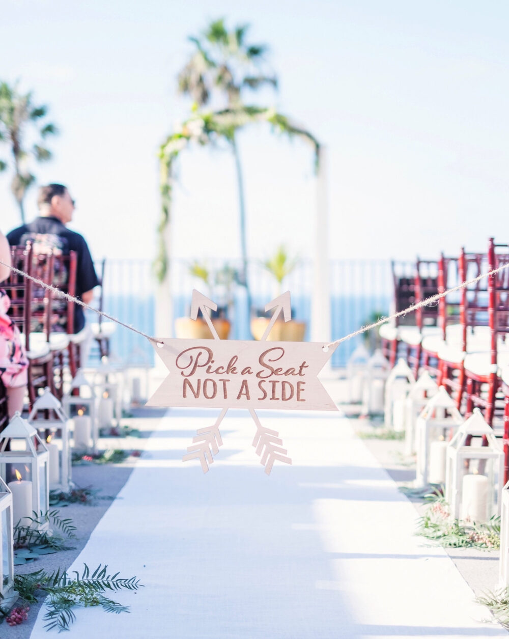 Wedding Sign For Aisle Pick A Seat Not Side Ceremony - Decorations in Rustic Boho Arrow Design | Item Aps100