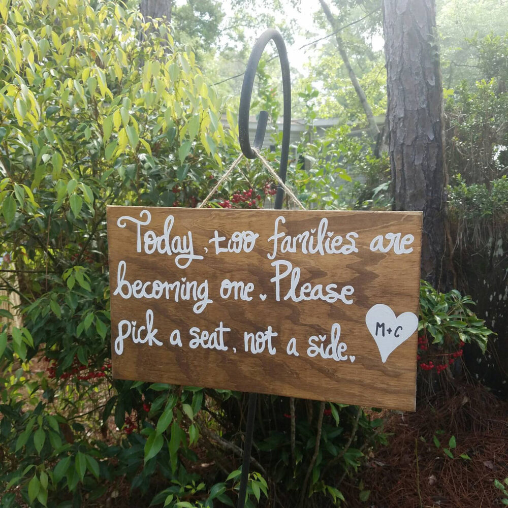Pick A Seat Not Side Sign - Wooden Wedding Seating Sign, Wedding Welcome Sign, Ceremony Today Two Families Are Becoming One