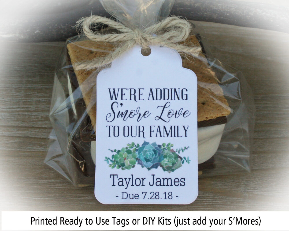 S'mores Baby Shower Favor, Favor Boy, Succulent We're Adding Smore Love To Our Family, Love