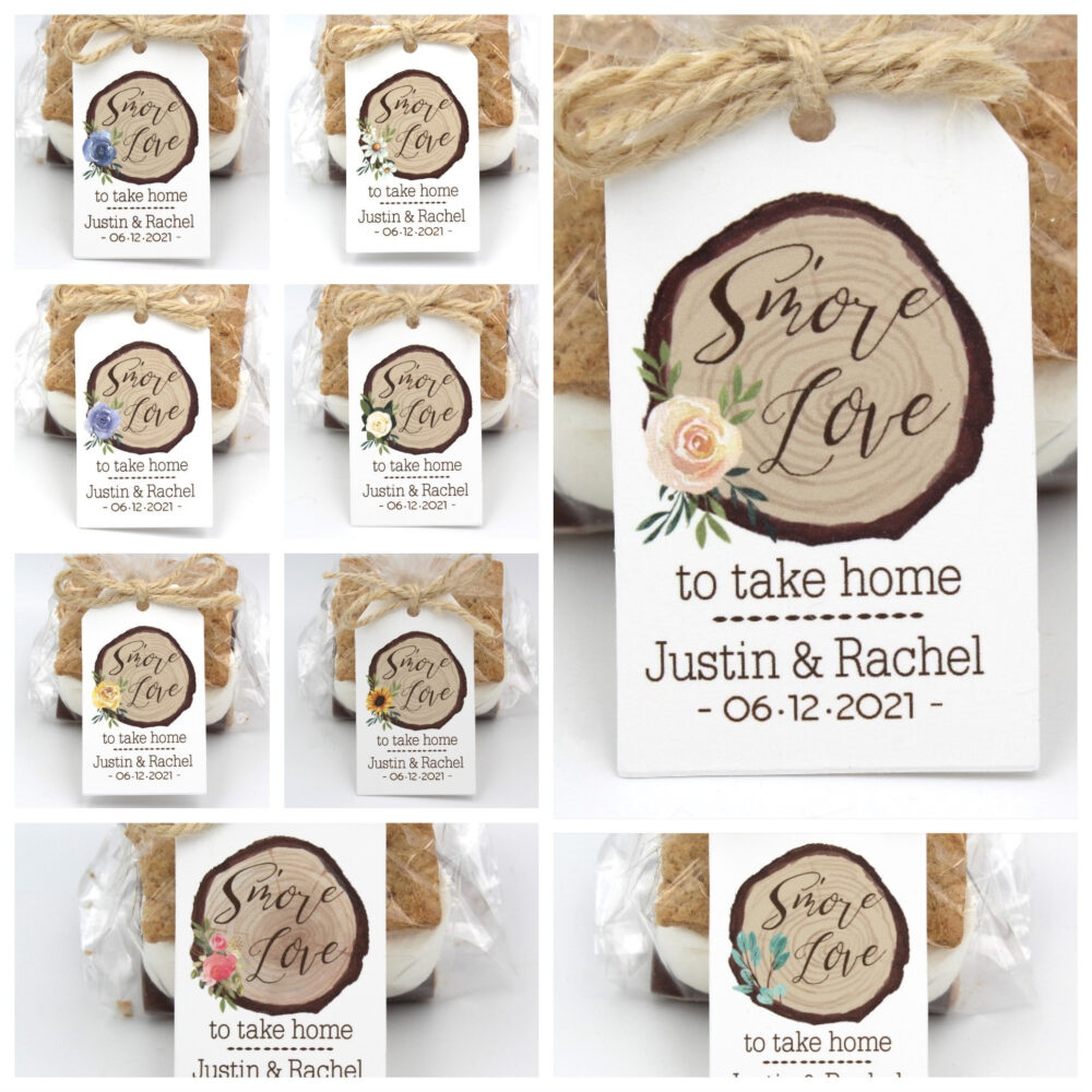 S'mores Wedding Favor Tags | Smore Love Kits Smores Favor Kit Diy Bags/Favor Tag W/Twine