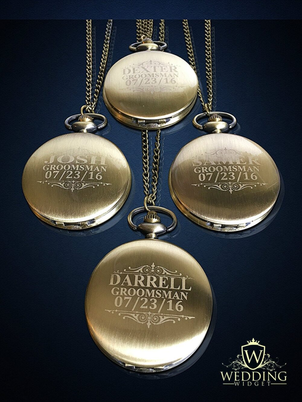 4 Personalized Pocket Watches - Bride & Groom Gift Groomsmen Wedding Set Best Man Of Honor Personalized