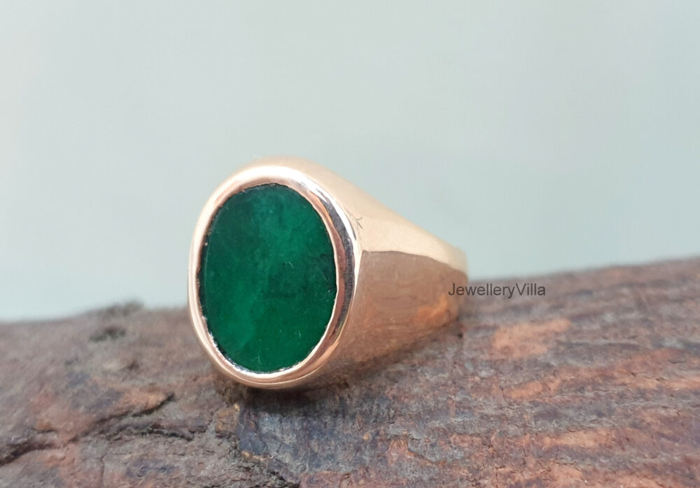 Flat Emerald Ring, Engraved Natural Green Silver 925 Solid Sterling Silver, Women Men Signet Gift Ring