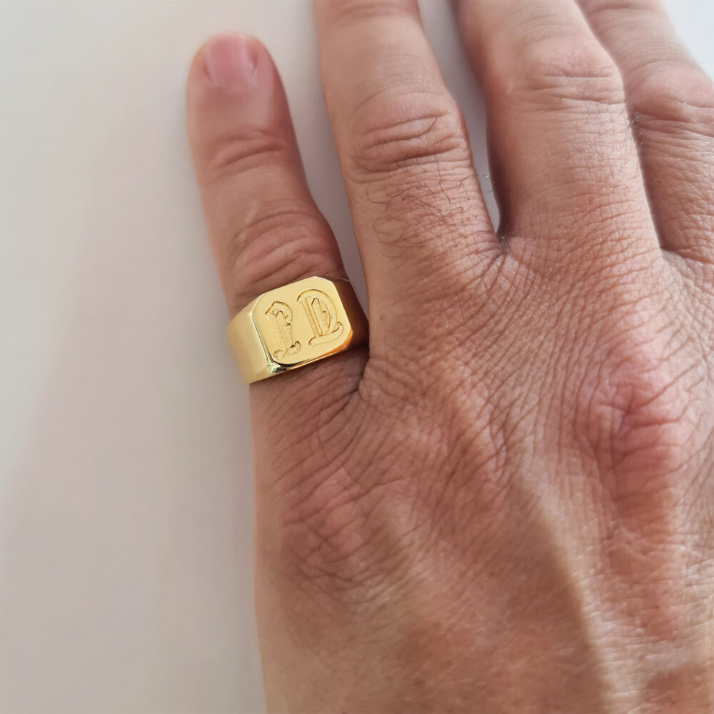 Men's Gold Pinky Ring Engraved With Initials, Custom Square Signet For Men, Personalized Male Ring, Gold Initial