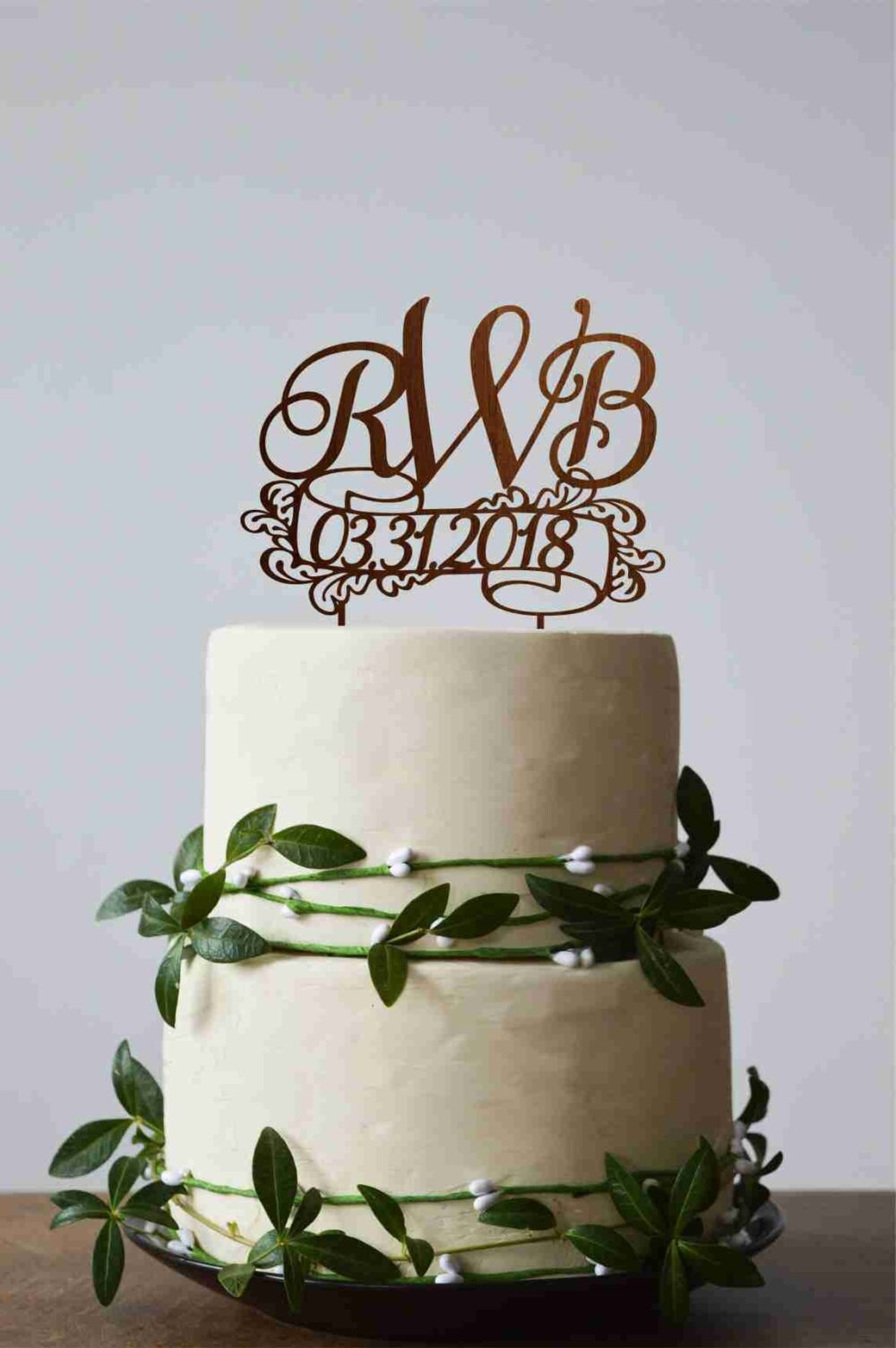 Three Letters Cake Topper, Initial Wedding Monogram Wedding Monogram Cake Topper For Rustic