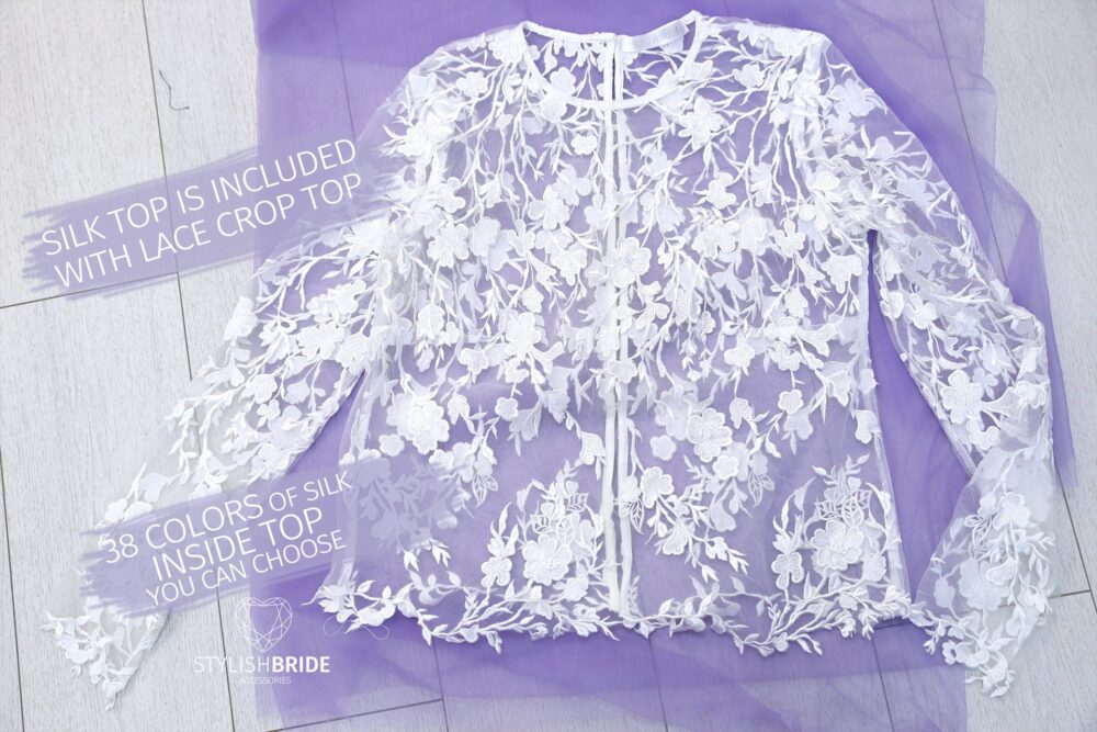 stylish Floral Lace Top Wedding, Flower Crop Top, Engagement Bridal Gowns & Separates