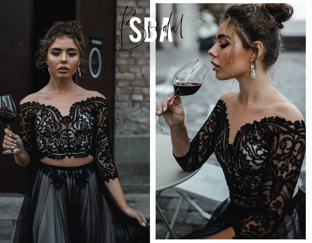 Alice Lux Off Shoulders Black Lace Top With Long Sleeves, Low Bridal Top, Prom Party Sba