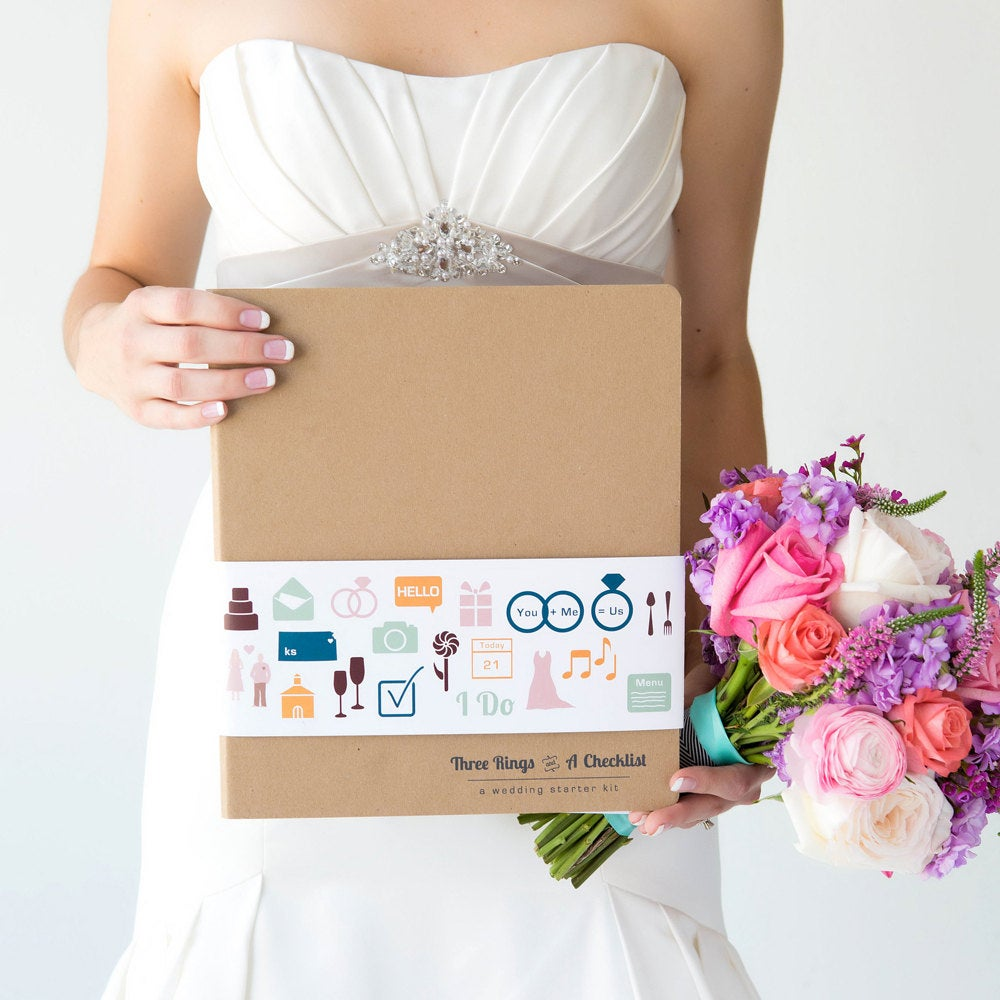 Wedding Planner Book, Three Rings & A Checklist, Cute Engagement Gifts For Her, Planning Book The Bride To Be From Groom