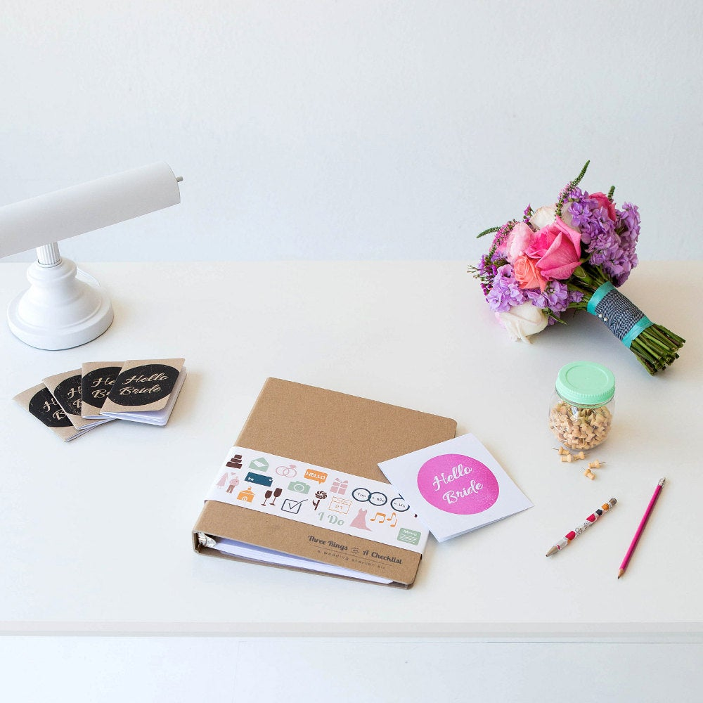 Wedding Planner, Three Rings & A Checklist, Engagement Gift For Best Friend, Planning Book 3 Ring Binder Her Big Day