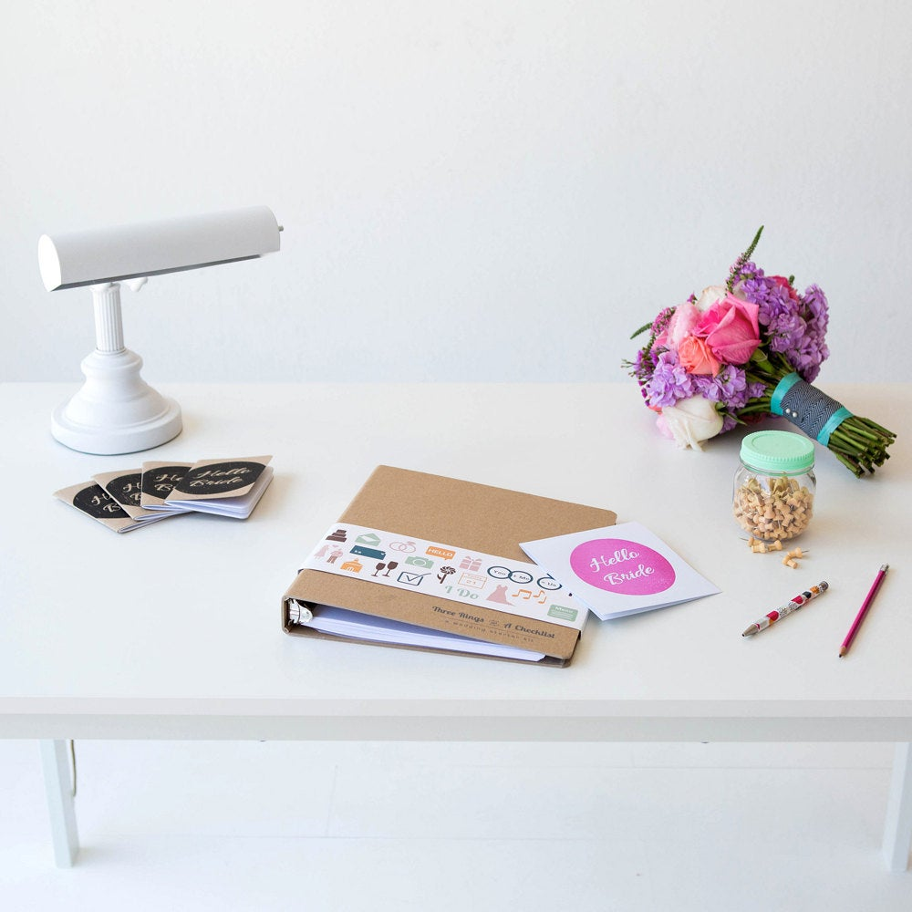 Wedding Planner, Three Rings & A Checklist, Unique Idea For The Engaged Couple, 3 Ring Binder Organizer Gift To Bride From Groom