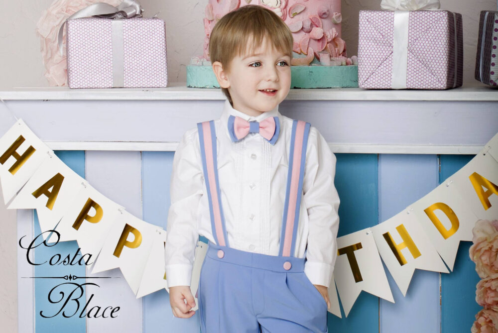 Suspenders Set For Boy in Paris Blue With Bow Tie First Birthday Outfit 1st Wedding Ring Bearer Suit Shorts Photo Prop Toddler Cute
